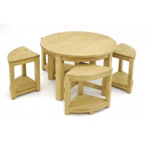 Table basse ronde + 4 tabourets 1/4 de rond Moken