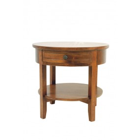 Table ronde appoint basse 1 tiroir Yugur