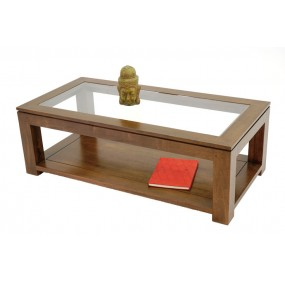 Table basse rectangle vitrée double plateau Maya
