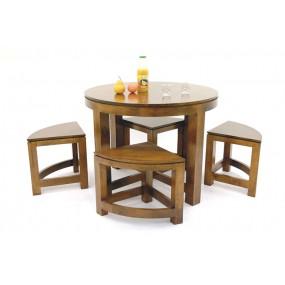 Table de repas ronde - 4 tabourets encastrables