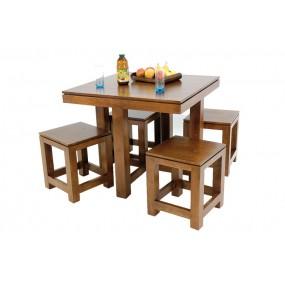 Table de repas carrée - 4 tabourets encastrables