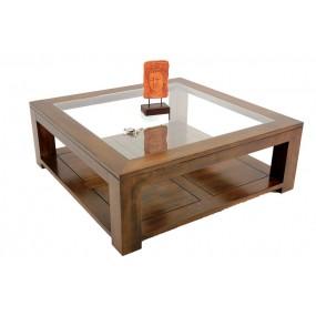 Table basse carrée vitrée grande taille Maya