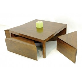 Table basse + 4 tabourets triangle Moken