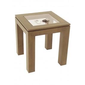 Table coin de canapé carrée avec plateau en verre