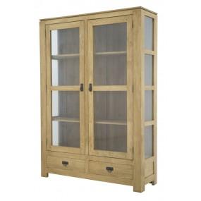 Etagère vitrée 2 tiroirs 2 portes Maya