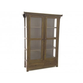 Etagère vitrée 2 portes 2 tiroirs Khmer