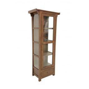 Bibliothèque vitrée 1 porte 1 tiroir Khmer