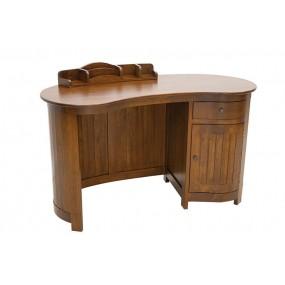 Bureau forme haricot en bois 1 porte 1 tiroir