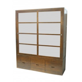 Armoire portes coulissantes vitres opaques 6 tiroirs