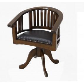 Fauteuil pivotant bois assise cuir