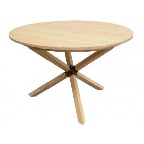 Table en bois ronde pieds croisés - couleur personnalisable