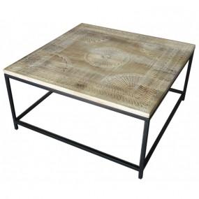 Table basse carrée plateau sculpté bois pied fer
