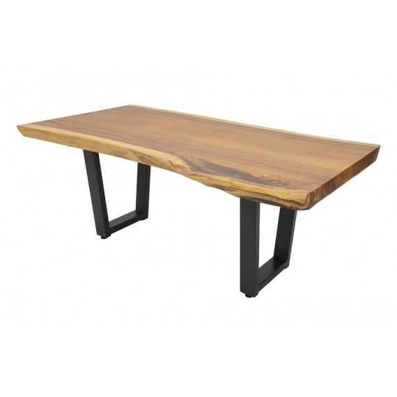 Table Repas Bois Massif Forme Libre Pieds Fer Forge Modele