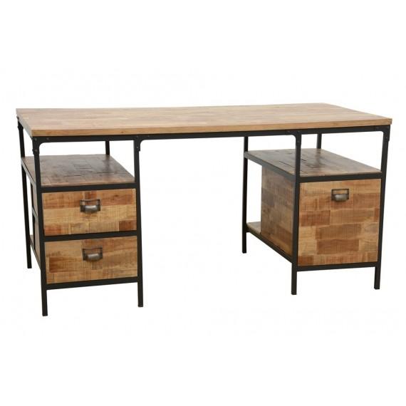 finition Bureau bois tiroirs naturelle et fer 3 vieillie wOP8n0k