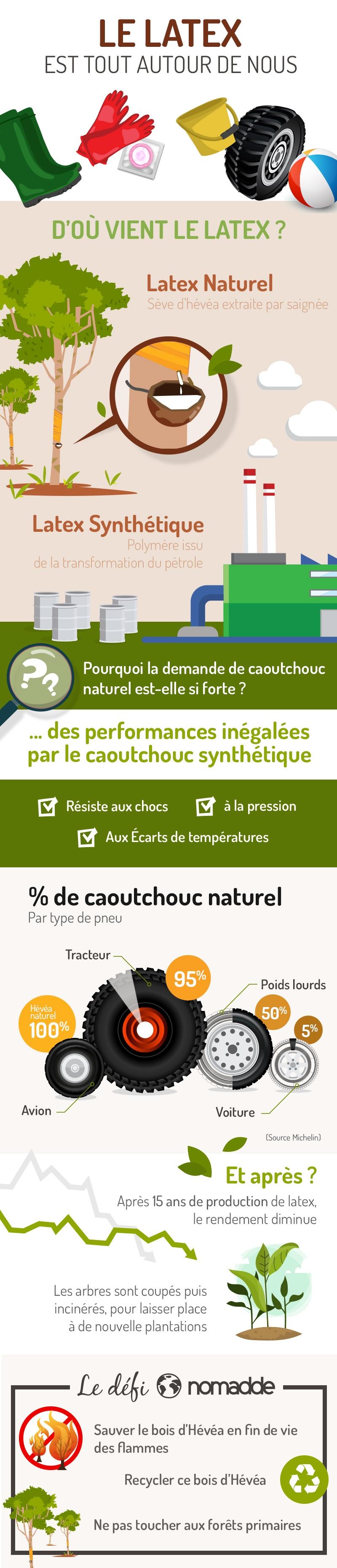 Infographie Histoire des meubles en bois d'GHévéa et le Latex