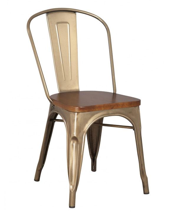 Chaise en métal galvanisé et assise bois de style industriel