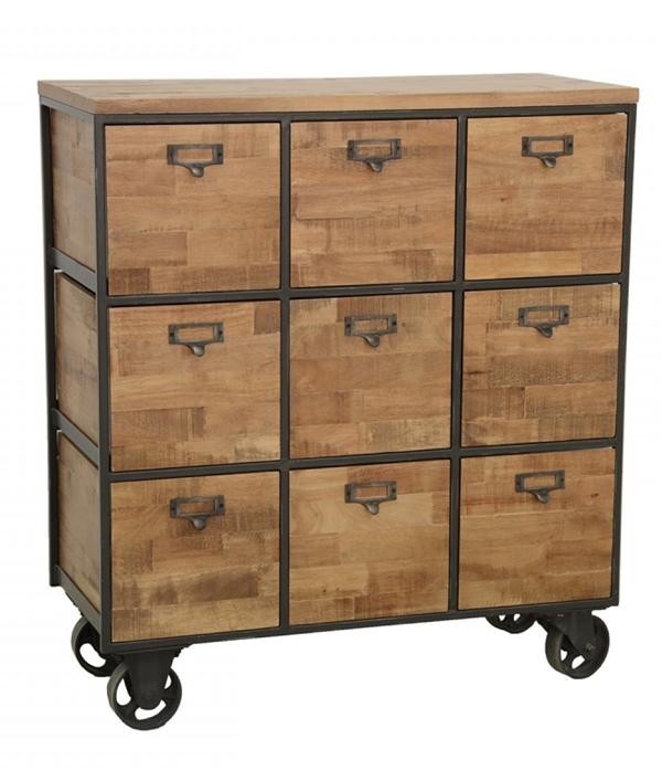 Meuble de rangement style industriel 9 casiers bois et fer